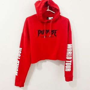 Purpose Tour Official Merchandise Cropped Hoodie
